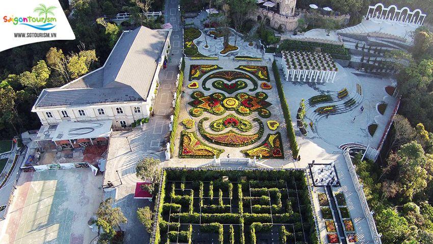 vườn hoa tình yêu Bà Nà nhìn từ trên cao