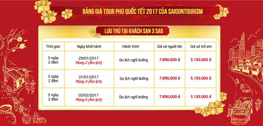 Bảng giá tour du lịch Tết 2017